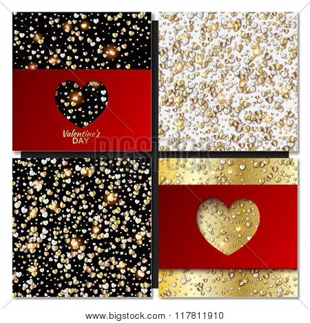 Set of Valentines day cards background with gold heart. Vector illustration