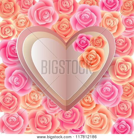 Paper Hearts With Rose Background
