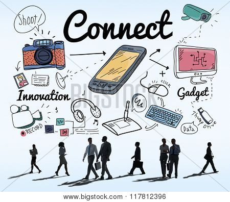 Connect Technology Social Media Innovation Concept