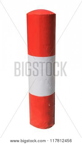 Red and white warning bollard isolated on a white background.