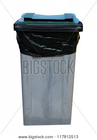 Gray recycling bin isolated on a white background.