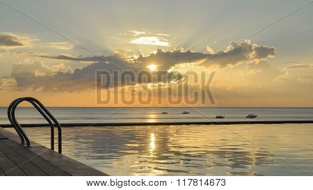 swimming pool and cloud silhouette