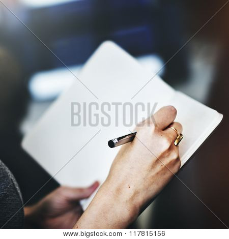 Writing Hands Memo Writing Note Concept