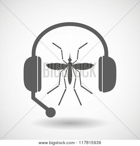 Zika Virus Bearer Mosquito  In A Headset Icon