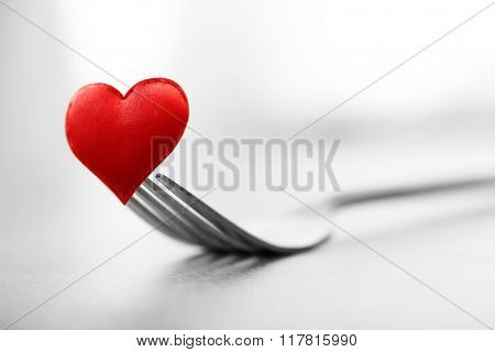 Concept image for Valentines Day dining, on gray background