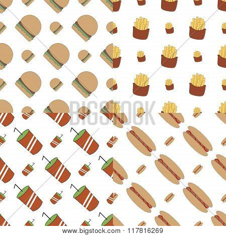 4 Fast Food Seamless Vector Illusrtations.