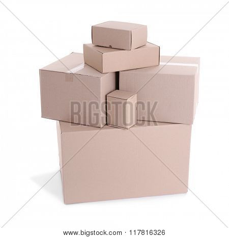 Set of cardboard boxes isolated on white