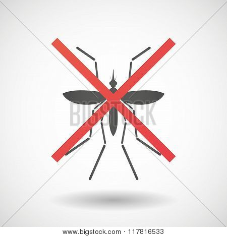 Zika Virus Bearer Mosquito  Under A Rejection Sign