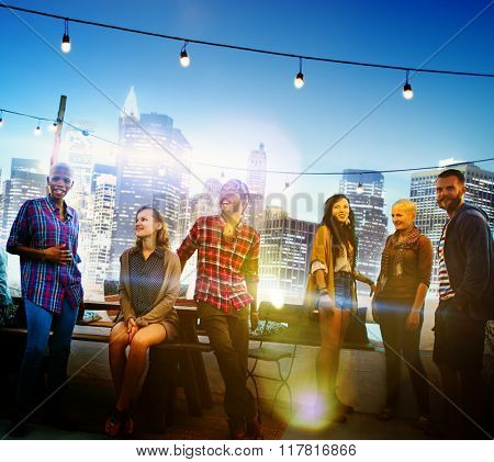 Diverse City Buildings Roof Top Fun Concept
