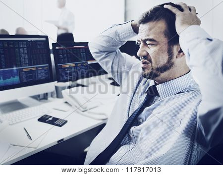 Businessman Stress Recession Financial Crisis Concept