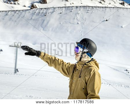 Portrait Of Snowboarderat Ski Resort