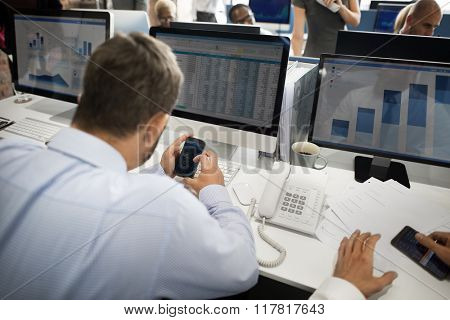 Businessman Connection Using Telephone Technology Concept