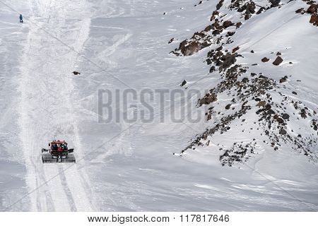 Vehicle With People Rises Up The Hill