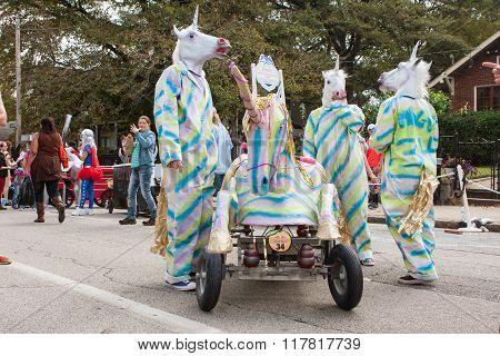 Team Dressed Like Unicorns Awaits Run At Soap Box Derby