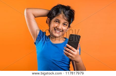 indian small girl with mobile, asian small girl with mobile, indian girl child and mobile