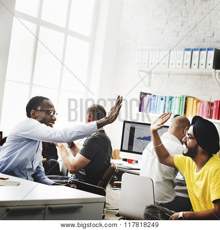 Trendy Business Office Success High Five Concept