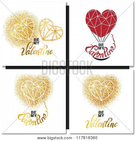 Set of Valentines day gold greeting cards with geometric heart shape. Vector illustration