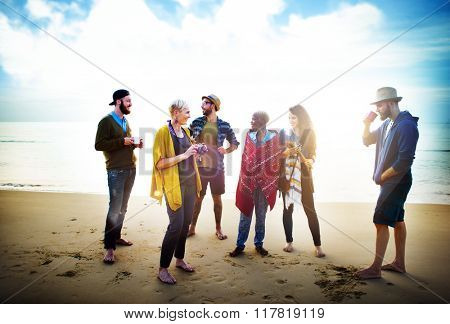 Friendship Relaxing Beach Morning Talking Concept