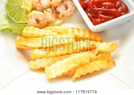 Side Dish Of Fries With Catsup