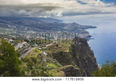 Amazing View From The Highest Cabo Girao Cliff On The Beach, Ocean Water And Camara De Lobos Town, M
