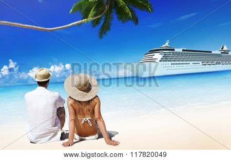 Couple Relaxing on the Beach Romantic Concept