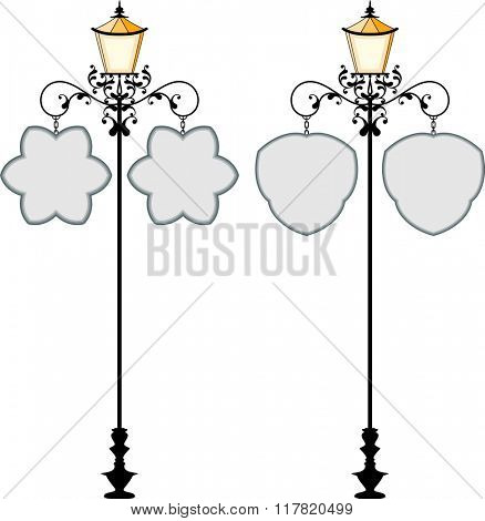 Wrought Iron Signage With Lamp, Lantern Raster Illustration