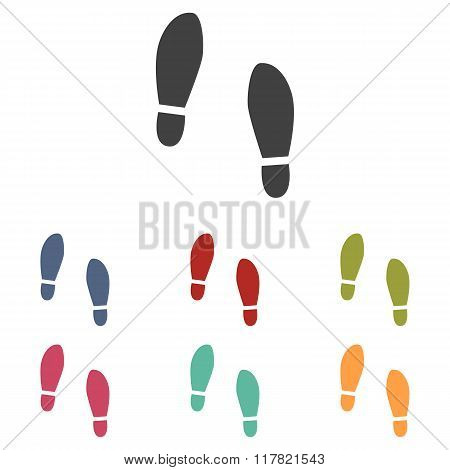 Imprint soles shoes icons set