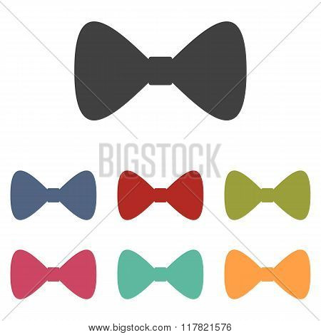 Vector Black Bow Tie icons set