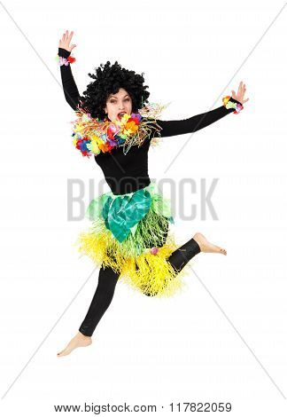 Funny Aborigine Girl In Native Costume Jumping Isolated