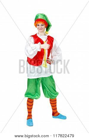 Funny Woman In Carnival Costume Of Pinocchio Show Thumb Up