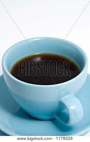 Blue Coffee Cup Full Of Coffee