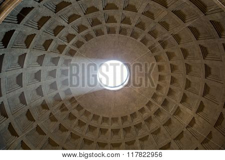 Rome, Italy - July 25, 2016:  Pantheon Dome With Sunlight