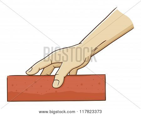 Hand Holding A Brick