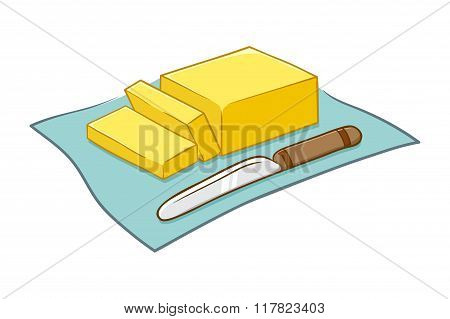 Vector Illustration Of Butter And Knife