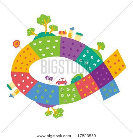 Vector Abstract Colorful Childish Cartoon City Drawing
