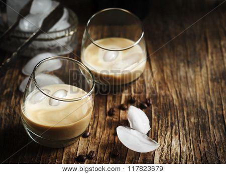 Irish Creme Liqueur In Glass With Ice.