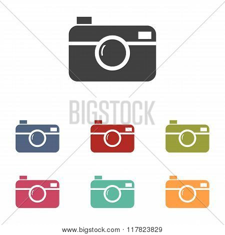 Digital photo camera icons set