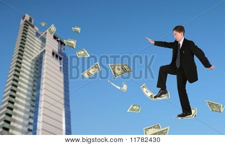 Businessman Climbing Up On Dollars Near Office Building And Sky Collage