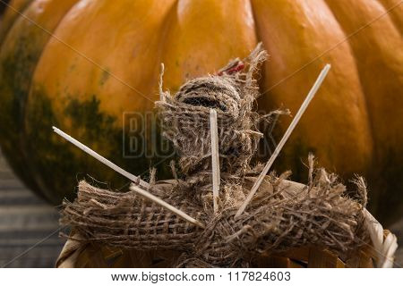 Spooky Doll With Pumpkin
