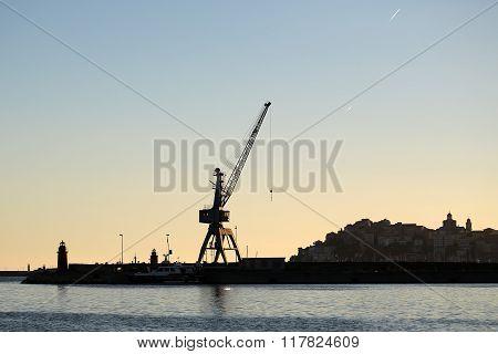 Sea Port Terminal In Evening