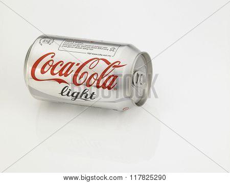 Kuala Lumpur Malaysia Jan 18th 2016,coca cola light aluminum can on the white background