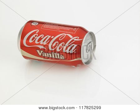 KUALA LUMPUR, MALAYSIA - JANUARY 18th, 2016,can of the vanilla  coke on the white background