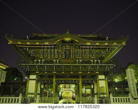 Narita temple at night time, Japan