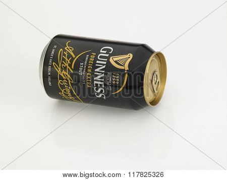 Kuala Lumpur Malaysia Jan 18th 2016,guiness stout aluminum can on the white background