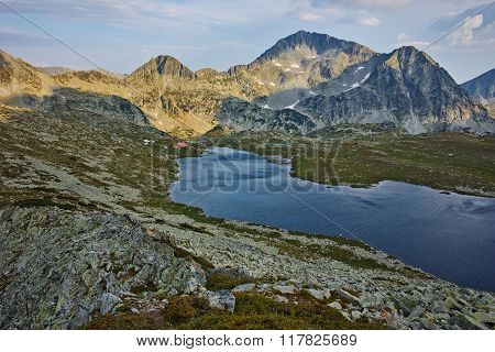 Panorama of Tevno Lake and Kamenitsa peak from Valyavishki chukar, Pirin mountain, Bulgaria