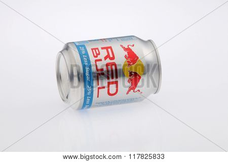 Kuala Lumpur Malaysia Jan 12th 2016,red bull silver aluminum can on the white background