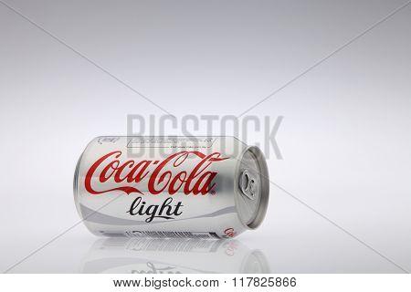 Kuala Lumpur Malaysia Jan 12th 2016,coca cola light aluminum can on the white background