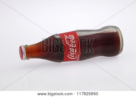 Kuala Lumpur Malaysia Jan 12th 2016,cold coca cola glass bottle on the white background