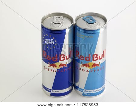 Kuala Lumpur Malaysia Jan 18th 2016,two red bull aluminum can on the white background