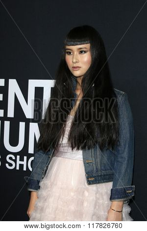 LOS ANGELES - FEB 10: Asia Chow arriving at the Saint Laurent fashion show at the Hollywood Palladium on February 10, 2016 in Los Angeles, California